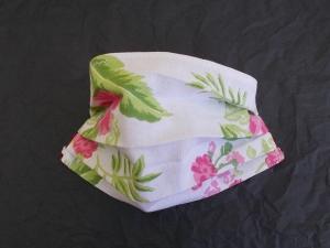 Behelfs-Mundschutz Maske Baumwolle waschbar genäht Nasenbügel Gummischlaufen *Hawaii*