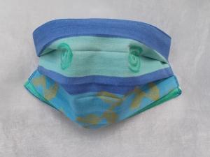 Behelfs-Mundschutz Maske Baumwolle waschbar genäht Nasenbügel Gummischlaufen *Blue Ocean IV*