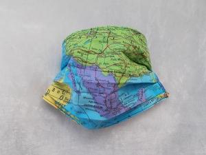 Behelfs-Mundschutz Maske Baumwolle waschbar genäht Nasenbügel Gummischlaufen *Heal the World VIIII*