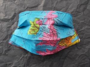Behelfs-Mundschutz Maske Baumwolle waschbar genäht Nasenbügel Gummischlaufen *Heal the World X* LAST ONE!