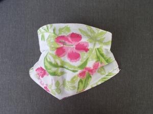 Behelfs-Mundschutz Maske Baumwolle waschbar genäht Nasenbügel Gummischlaufen *Hawaii III*