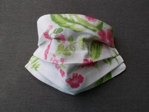 Behelfs-Mundschutz Maske Baumwolle waschbar genäht Nasenbügel Gummischlaufen *Hawaii V*
