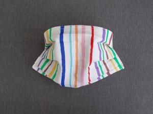 Behelfs-Mundschutz Maske Baumwolle waschbar genäht Nasenbügel Gummischlaufen *Summer Stripes / Brown*  - Handarbeit kaufen