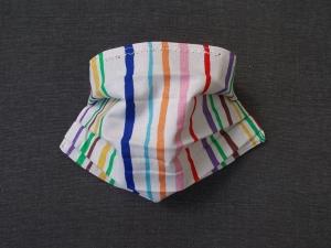 Behelfs-Mundschutz Maske Baumwolle waschbar genäht Nasenbügel Gummischlaufen *Summer Stripes / Red*