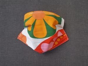 Behelfs-Mundschutz Maske Baumwolle waschbar genäht Nasenbügel Gummischlaufen *Flower Power XI*