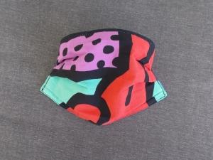 Behelfs-Mundschutz Maske Baumwolle waschbar genäht Nasenbügel Gummischlaufen *PopArt XI*