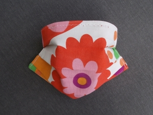 Behelfs-Mundschutz Maske Baumwolle waschbar genäht Nasenbügel Gummischlaufen *Flower Power XIII*