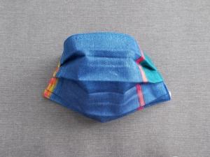 Behelfs-Mundschutz Maske Baumwolle waschbar genäht Nasenbügel Gummischlaufen *Blue Emotion*