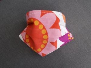 Behelfs-Mundschutz Maske Baumwolle waschbar genäht Nasenbügel Gummischlaufen *Flower Power XV*