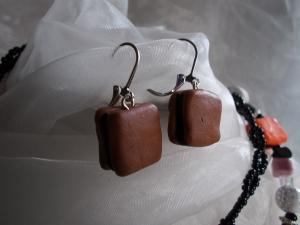 *COLORADO* ♥ Ohrhänger aus handgefertigten Polymer Clay Perlen in Form von Lakritz Konfekt braun schwarz - Handarbeit kaufen