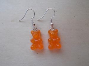 *COLORADO* ♥ Ohrhänger aus handgefertigten Resin/ Epoxidharz Perlen in Form von Gummibärchen orange - Handarbeit kaufen
