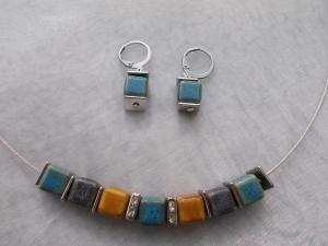 *Nature* ♥ Collier Kette Stahlband mit Keramik - Perlen und passenden Ohrhänger in blau grau + hellbraun - Handarbeit kaufen