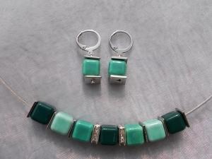 *Petrol* ♥ Collier Kette Stahlband mit Keramik - Perlen und passenden Ohrhänger in türkis grün petrol