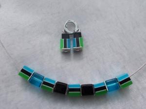 *Waterfall* ♥ Collier Kette Stahlband mit Glas - Perlen und passenden Ohrhänger in blau grün schwarz - Handarbeit kaufen