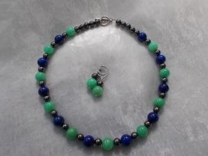 *Deep Sea* ♥ Kette  und passenden Ohrhänger in grün blau silber aus Edelstein-Perlen Aventurin Lapislazuli  + Hämatit - Handarbeit kaufen