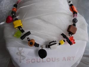 *COLORADO* ♥ Kette aus handgefertigten Polymer Clay Perlen in Form von Lakritz Konfekt II - Handarbeit kaufen