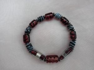 Glasperlenarmband Glasperlen Armband ♥ *Nobelesse* bordeaux grau schwarz - Handarbeit kaufen