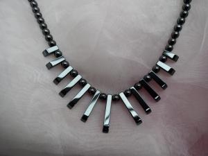 Halskette Perlenkette Collier Edelstein ♥ HÄMATIT *CLEOPATRA DARK* grau metallic  - Handarbeit kaufen