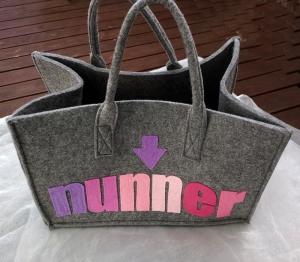 Tasche Tragetasche Filztasche ♥ Hessische Tasche Filzltasche - *NUFF-NUNNER* Grau türkis pink - Handarbeit kaufen