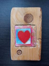 Holzbild mit Fliese   ♥  * Love II * Herz  aus  Palettenholz und handgefertigter Fliese  - Handarbeit kaufen