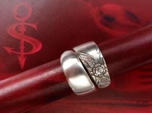 Besteckschmuck Ring ♥  Flora Ring  aus einem Löffel Größe 55/56 Stielende - Handarbeit kaufen