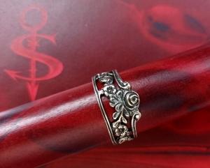 Besteckschmuck Ring ♥  *Petite Fleur* Ring  aus einem Serviettenring echt Silber Größe 62 - Handarbeit kaufen