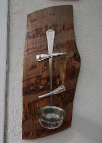 Teelichthalter Kerzenständer Wandleuchte  ♥  * Woody II *  aus  einer Suppenkelle und einem Stück Holzschwarte  - Handarbeit kaufen