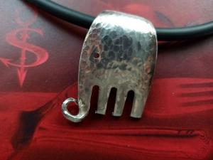 Besteckschmuck Anhänger ♥ Gabel Elefant Hammerschlag Lagenlook - Handarbeit kaufen