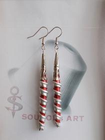 Ohrhänger ♥ Spirale Nr. two  rot silber Nespresso - Kapsel Schmuck upcycling  - Handarbeit kaufen