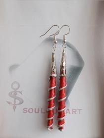 Ohrhänger ♥ Spirale Nr. one  rot silber Nespresso - Kapsel Schmuck upcycling  - Handarbeit kaufen