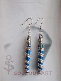 Ohrhänger ♥ Spirale Nr. two  blau silber Nespresso - Kapsel Schmuck upcycling - Handarbeit kaufen
