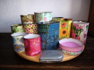Besteckhalter Stiftehalter Aufbewahrung  ♥  * Drehteller  *ColourfulRondell*  aus  Holz und Konservendosen  - Handarbeit kaufen