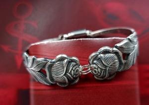 Besteckschmuck Armband Armreif mit Magnet ♥ Open Rose  - Handarbeit kaufen