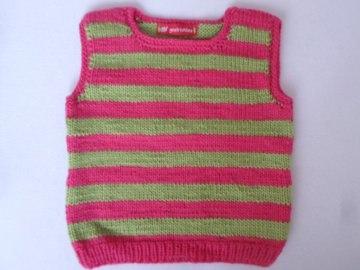Pullunder pink grün gestreift Gr.92/98 - Handarbeit kaufen