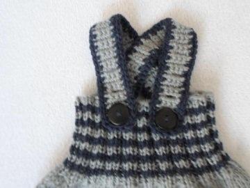Gr. 62/68 Salopette grau blau Strickhose im Trend - Handarbeit kaufen