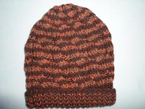 Mütze in den Farben braun orange aus reiner Merinowolle - Handarbeit kaufen