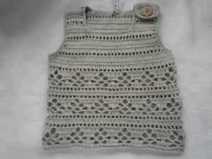 Gr.80/86 Sommertop in kid aus Baumwolle mit Leinen gehäkelt - Handarbeit kaufen