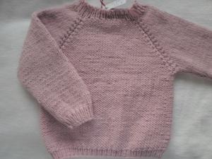 Gr.68/74 Pullover in rosa aus reiner, weicher Wolle handgestrickt - Handarbeit kaufen