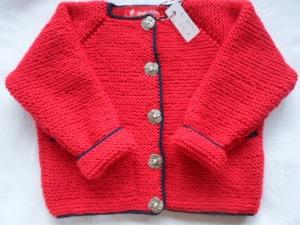 Gr.80/86 Strickjacke in rot handgestrickt - Handarbeit kaufen