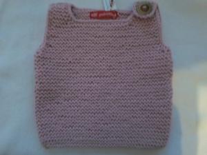 Gr.80/86 Pullunder fürs Baby in rosa aus strapazierfähiger Wolle kraus rechts handgestrickt - Handarbeit kaufen