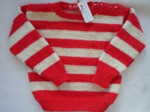 Gr.74/80 Babypullover rot/weiß gestreift aus weicher strapazierfähiger Wolle handgestrickt - Handarbeit kaufen