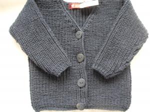 Gr.80/86 Babystrickjacke in dunkelblau aus reiner Schurwolle im Halbpatentmuster handgestrickt - Handarbeit kaufen