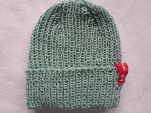 Babymütze für Babys von 3 - 6 Monaten in mint aus reiner Baumwolle im Bündchenmuster handgestrickt - Handarbeit kaufen