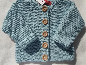 Gr.68/74 Babystrickjacke in hellblau aus reiner Baumwolle kraus rechts handgestrickt - Handarbeit kaufen