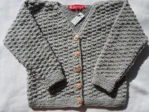 Gr.98/104 Strickjacke in steingraumelange aus strapazierfähiger Wolle im Strukturmuster handgestrickt - Handarbeit kaufen