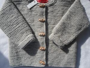 Gr.98/104 Strickcardigan für Kinder in kidmelange aus strapazierfähigem Garn kraus rechts handgestrickt - Handarbeit kaufen