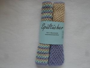 Spültücher im Zweierpack in beige mint lila gestreift aus reiner Baumwolle im Strukturmuster handgestrickt - Handarbeit kaufen