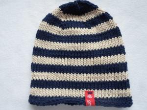 Gr.92/98 Kindersommermütze in dunkelblau und beige gestreift aus reiner Baumwolle handgestrickt - Handarbeit kaufen