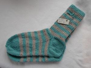 Gr.38/39 Socken mintbeige gestreift aus strapazierfähigem Strumpfgarn handgestrickt