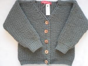 Gr.86/92 Kinderstrickjacke in khakigrün im Halbpatentmuster aus reiner Wolle handgestrickt - Handarbeit kaufen